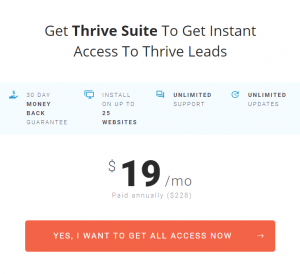 Thrive Leads exit intent pop up tool pricing