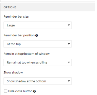 Picreel-reminder-bar-options