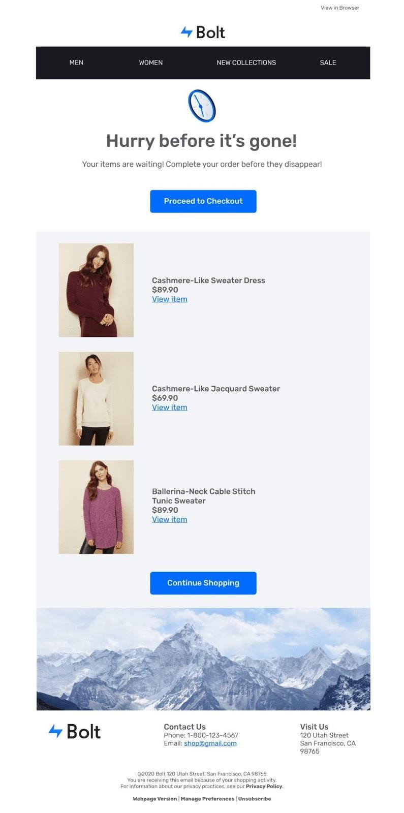Example of second abandoned cart email