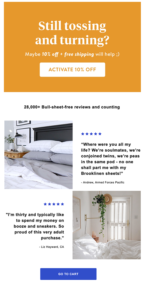 Sixth Abandoned Cart Email Examples to Win Customers