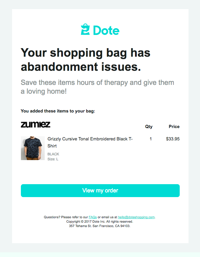 Eleventh Abandoned Cart Email Examples to Win Customers